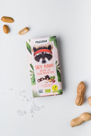 Proteinschokolade Salty Peanut Raccoon Schokolade geschlossen Salty Peanut Erdnüsse geschlossen Vegan Protein Produktbild