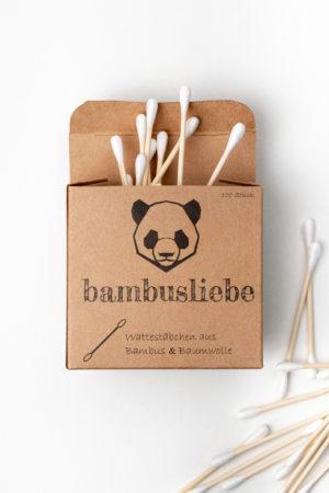 Bambusliebe Wattestäbchen geöffnet Produktbild