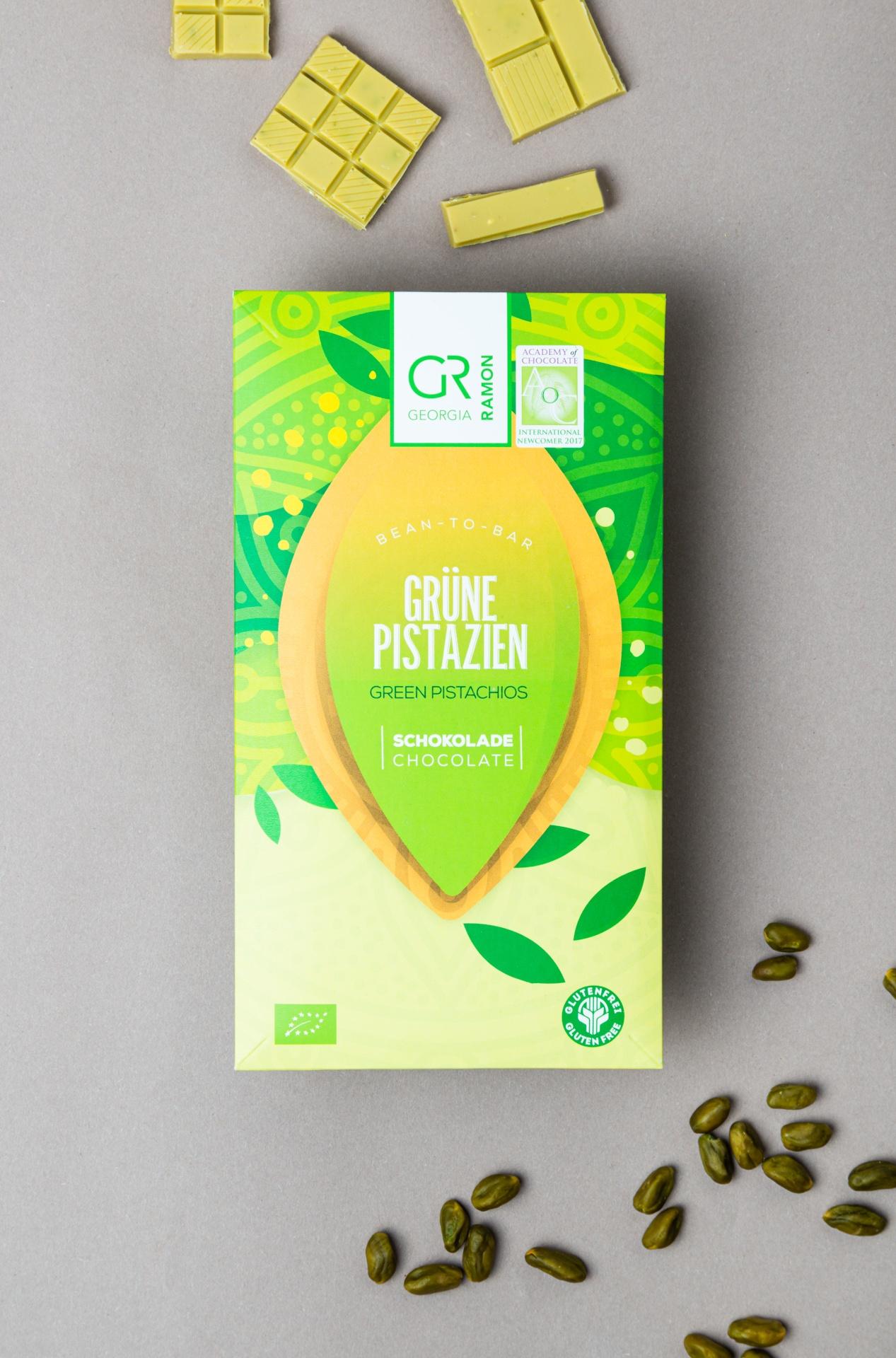 Weiße Schokolade mit Pistazie von Georgia Ramon Produktbild offen