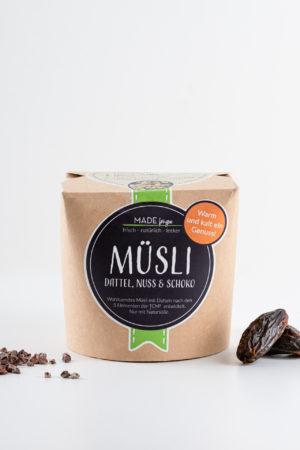 gesundes Müsli Made for you Dattel Nuss Schoko Produktbild
