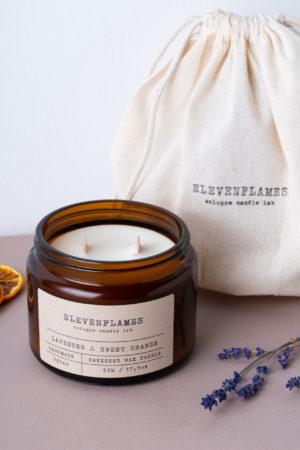 rapskerze lavendel sweet orange Elevenflames Produktbild Säckchen