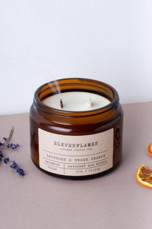 rapskerze lavendel sweet orange Elevenflames Produktbild 2